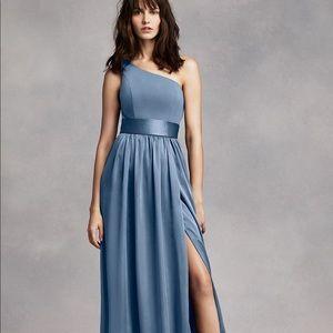 1 Shoulder Dress w/ Sash, Steel Blue, Size 14